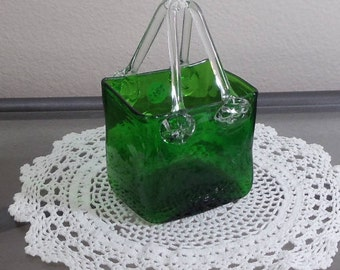 Exquisite Vintage Green Glass Square Vase with Glass Handles, NEW LISTING!!!,VB7319