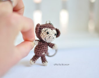 Crochet keychain - Monkey Amigurumi Keyring - Little Monkey Keychain - Monkey keychain