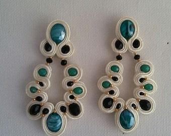 Green Soutache Earrings & Cream