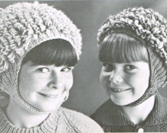 Vintage knitting pattern -Loop-ette hat in 2 sizes for girls - PDF knitting pattern - retro 60's - wool hat pattern -kids girls