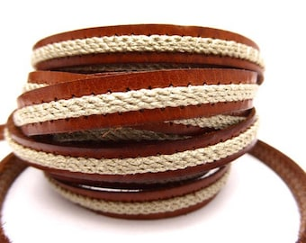 Leather camel Brown strap sewn of linen woven 10 mm sold by 20 cm