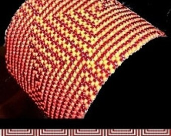 Loom or 1 Drop Even Peyote Bead Pattern - Candy Cane Maze Cuff Bracelet