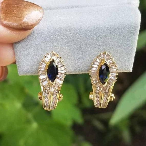 Stunning vintage estate 14k gold marquise cut blue sapphire and channel set baguette diamond halo pierced earrings, pierced Omega ear clips