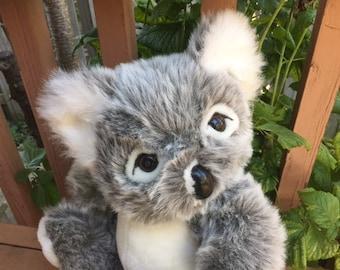 Vintage Koala  Bear Gray Stuffed Animal Plush Toy by Terra Nova made in China 1993