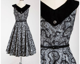 Vintage 1950s Black Grey Velvet Dress Flocked 50s Party Dress Size Medium