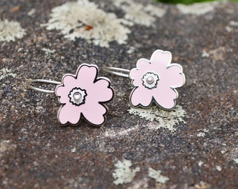 Silver enamel pink flower earrings, kinetic sculpture