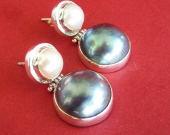 Awesome Sterling Silver Mabe Pearl Stud Earrings / Pearl Earrings / Silver 925 / Handmade Jewelry