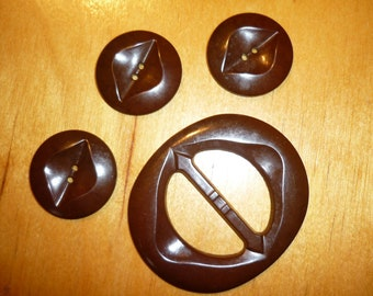 1 Vintage plastic Buckle with 3 Buttons - oval brown -1940-50 # 2208