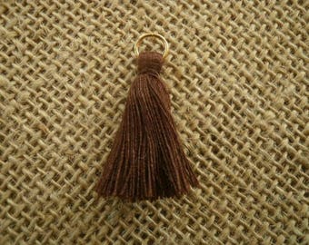 Set of 2 tassels tassel with a ring, brown color, size 4 cm