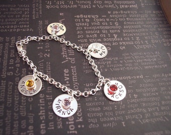 Hand Stamped Personalized Custom BIRTHSTONE Charm BRACELET Sterling Silver.  GRANDMA or Mother of Many