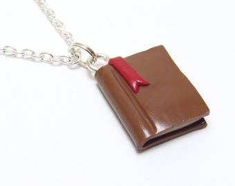 Book Charm, Book Pendant Necklace, Brown Polymer Clay, Bookworm Jewelry, Book Lover Gift, Teacher Gift, Unique Womens Gift