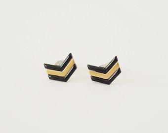 Black chevron and raw brass bullet earrings