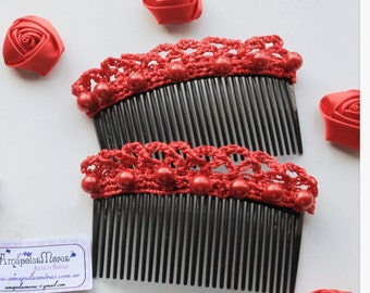 "Double Hair Combs model "" Pastora "" Flamenco woven crochet & pearls"