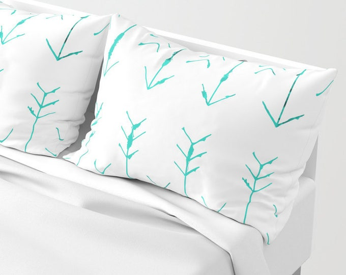 Pillowcases - Pillow Shams - Hand Drawn Teal Arrows - Original Art - Made to Order