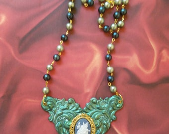 Spring Fairy Necklace w/ Green and Blue
