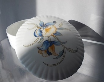 Aynsley Trinket Dish, Porcelain Jewelry Storage Dish, Design (Just Orchids), Made in England Dressing Table Dish, 1980 Feminine Vintage Dish