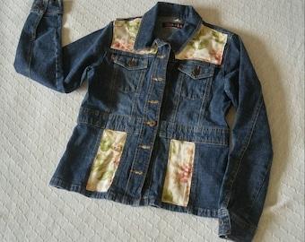 Upcycled denim women's jacket romantic prairie bohemian boho cowgirl chic embellished western jean jacket