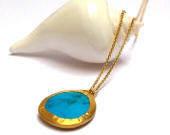 Turquoise Pendant - Gold Pendant - 24 K Gold Pendant - Gold necklaces - Turquoise necklaces - Free Shipping!!!