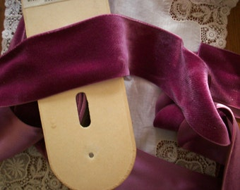 "1 yd. Antique Silk Velvet  2"" Wide Yardage Old Stock Never Used Luscious Fuchsia Color"