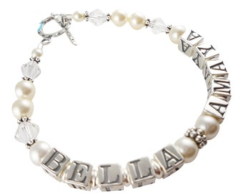 Beautiful pearl Mother's bracelet with children's names. Single or 2 name-choose strands and personalization & colors/ size. Sterling silver
