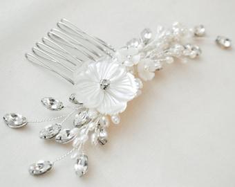 Bridal Hair Comb, Art Deco Bridal Hairpiece, Bridal Haircomb, Rhinestone and Pearl Hair Comb, Bridal Head Piece