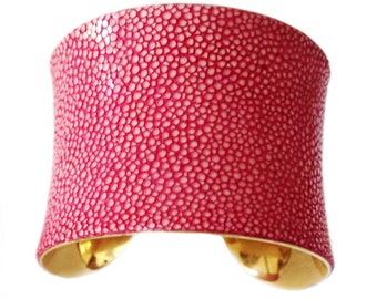 Pink Polished Stingray Cuff  Bracelet - by UNEARTHED