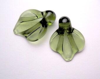 LEAF BEADS, Lampwork Glass Leaves, green glass leaf, autumn leaves, lampwork glass bead, sra lampwork
