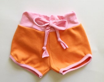 retro sporty shorts | cotton candy + clementine