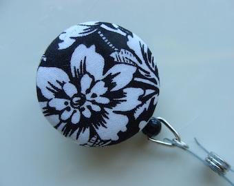 Retractable Badge Reel - Wild Flower on Black