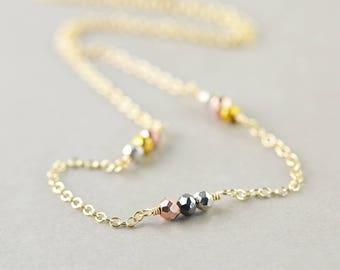 Pyrite Necklace, Minimal Necklace, Multi Color Necklace
