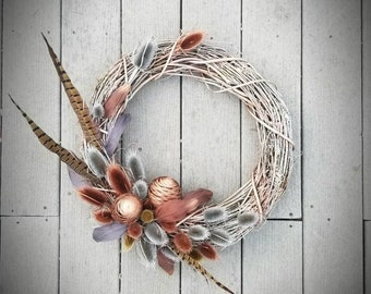 Silver Grapevine Wreath, Metallic Wreath, Pheasant Feather, Metallic Pinecones, and Silver and Copper Thistle, Wall Hanger, Door decor