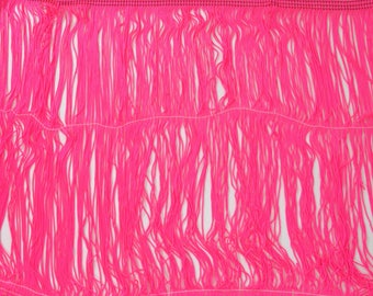 """Neon Pink Chainette Fringe 12"""" Trim, Dance Costumes, Flapper Fringe, Decorating, Sewing Trim Supplies, Tassel, Fluorescent, By the Yard"""