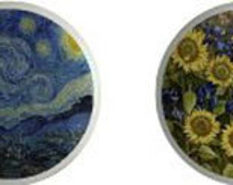 Van Gogh Art Set of 4 Ceramic Knobs or Pulls for Furniture and Cabinets