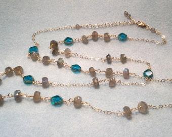 Labradorite and Czech bead necklace; Labradorite necklace; Czech bead necklace; long necklace; long beaded necklace; wire wrapped necklace
