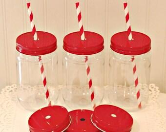Plastic Mason Jars, 6 Plastic Mason Jars with Red Straw Hole Lids, Mason Jar Cups, Wedding Favors, Baby Shower Favors, Christmas Weddings