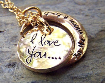 Gold Moon Necklace Gift under 25 for Her Family Necklace Friend Jewelry I Love You To The Moon and Back