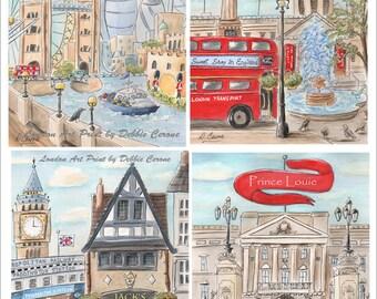 London Paddington Bear Nursery Idea, Union Jack Red Baby Nursery Prints, Personalized Girl Custom Name Boy Travel Theme Nursery, Set Of 4