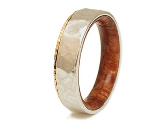Briar Root Wood Ring 18K Gold and Silver - Wood Wedding Band - Hammered gold ring -