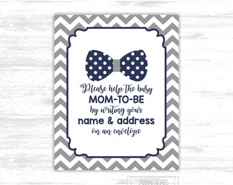 Make yourself the addressee sign bow tie baby shower sign write your name and address on an envelope little man navy grey sign BETI001