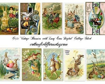 Vintage Bunnies with Long Ears Digital Collage Sheet C-131