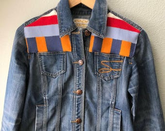 Adult Denim Vintage Native American Jean Jacket with Oregon wool fabric appliques - Size M  Women's Denim Jacket Tribal Denim Jacket