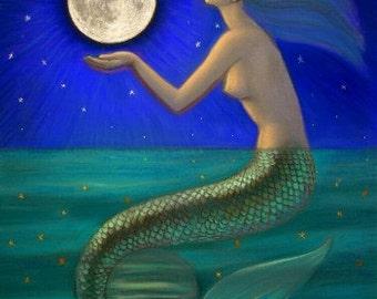 Mermaid art painting Goddess moon print poster by Sue Halstenberg