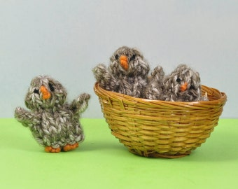Little brown baby chicks for a springtime birthday gift - child safe pocket friend - down on the farm - hand knitted - little chickens