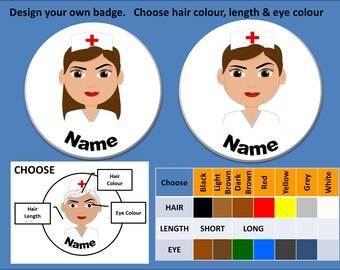 Design Your own Nurse Name Tag Badge (58mm) CHRISTMAS THEME Nurse Name Badges Too