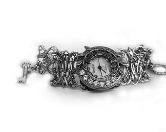Floral Watch Gothic watch Silver Ladies Watch Bracelet watch victorian wrist watch Victorian Jewelry goth jewelry