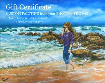 Gift Certificate for CUSTOM ART Painting from Your Photo or Photos Combined Realism Classical Painting