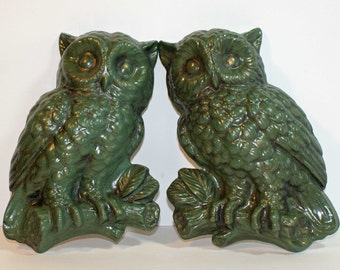 Owl Wall Hanging - 1960s Green Pair of Owls