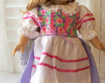 Handmade Doll Clothes Bright Flowers Dress Fits 18 or 20 inch dolls