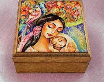 Mother and child motherhood art tree of life, feminine painting, wooden gift box, mother box, christian box, jewelry box, 3.5x3.5+