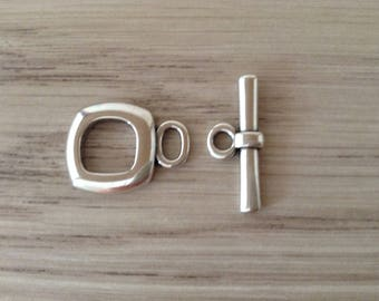 17 mm silver square toggle clasp